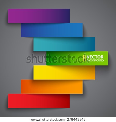 Colorful rainbow  paper stripe banners arrow on dark grey background. RGB EPS 10 vector illustration - stock vector