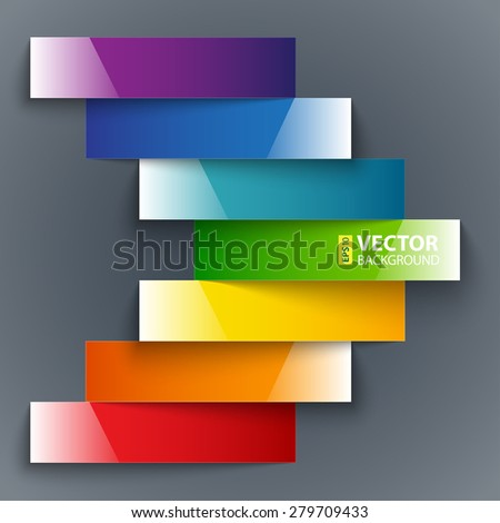 Colorful rainbow shiny paper stripes banners arrow on dark grey background. RGB EPS 10 vector illustration - stock vector