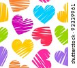 Colorful rainbow sketchy hearts seamless pattern/ background - stock vector