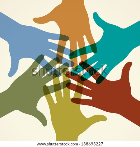 Colorful raised hands. The concept of diversity. Group of hands. Giving concept. This work - eps10 vector file, contain transparent elements - stock vector