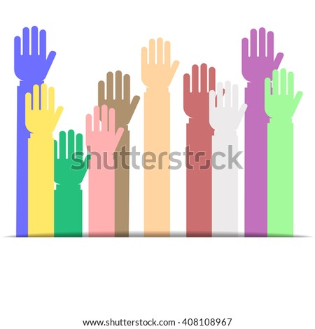 Colorful Raised hands up isolated on white background flat style - stock vector