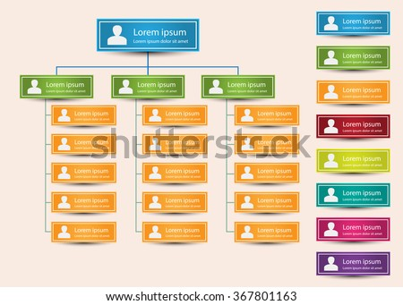 Colorful Rectangle Organization Chart Infographics, People Icon, Business Structure Concept, Business Flowchart Work Process, Vector Illustration. - stock vector