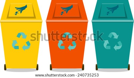 Colorful recycle trash or rubbish bins, flat icon,silhouette - stock vector