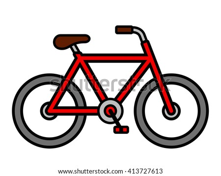 Colorful red cartoon bicycle outline drawing viewed from the side isolated over white, vector illustration - stock vector