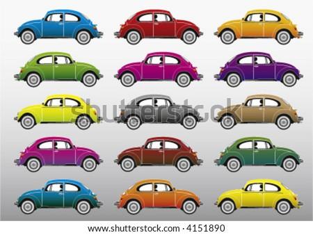 colorful retro cars, vector - stock vector