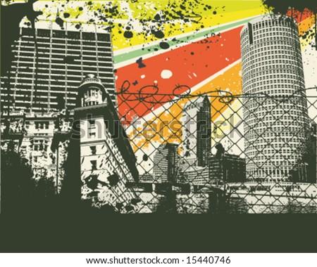Colorful retro city vector Illustration - stock vector