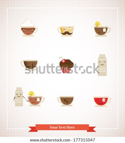 Colorful retro hipsters icons of coffee, tea, milk and dessert - stock vector