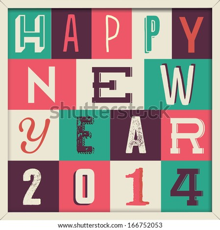 Colorful Retro Vintage 2014 New Year Poster Background  - stock vector