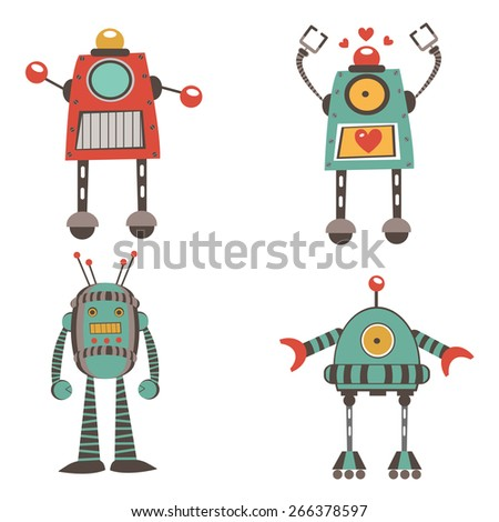 Colorful robot characters collection in vector format - stock vector