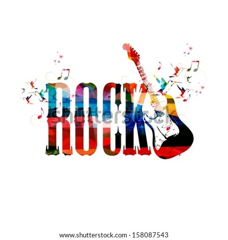 Colorful rock vector background with guitar. - stock vector