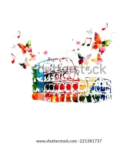 Colorful roman Colosseum background - stock vector