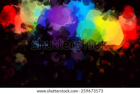 Colorful round brush strokes on black background. Vector version - stock vector