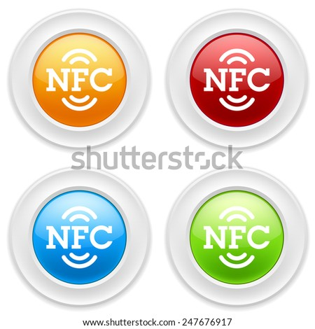 Colorful round buttons with nfc icon on white background - stock vector