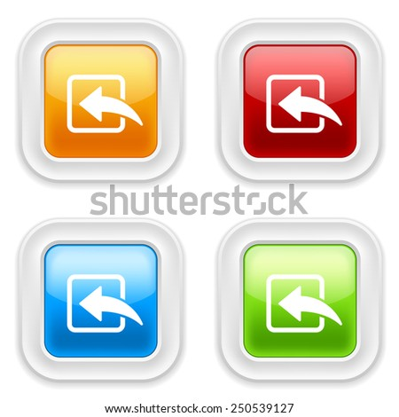 Colorful round buttons with paste icon on white background - stock vector