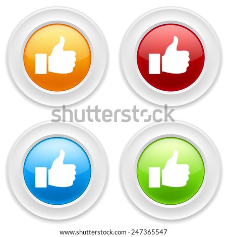 Colorful round buttons with thumb icon on white background - stock vector