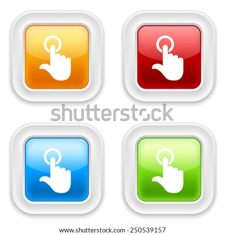 Colorful round buttons with touch icon on white background - stock vector