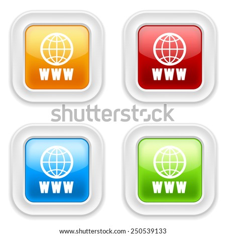 Colorful round buttons with www icon on white background - stock vector