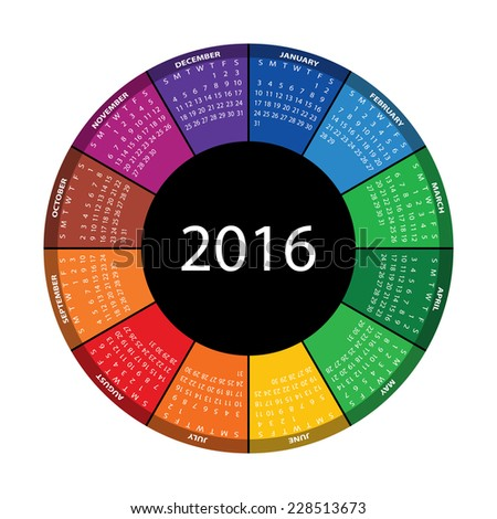 Colorful round calendar for 2016 year. Vector EPS10. - stock vector