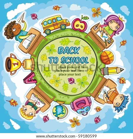 Colorful round composition, with cute schoolchildren and school design elements - stock vector