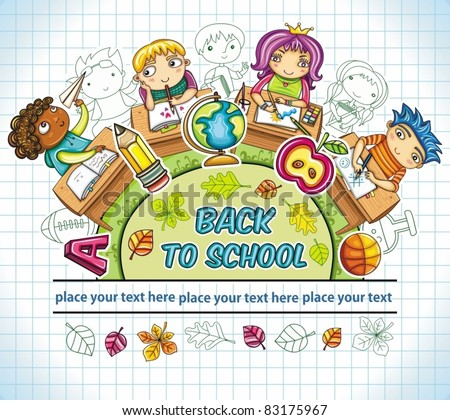 Colorful round composition, with cute schoolchildren and school design elements. with space for your text - stock vector
