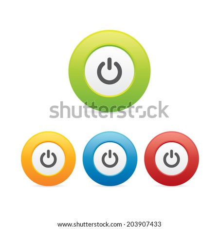 Colorful Round Power Icons - stock vector