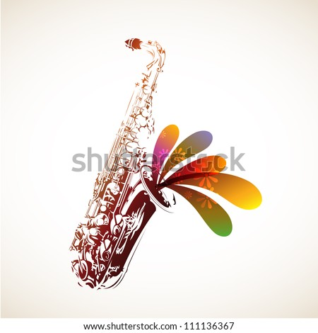 Colorful Sax - stock vector