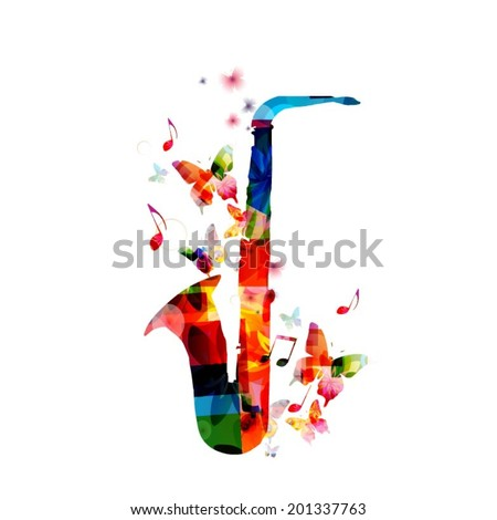 Colorful saxophone design - stock vector