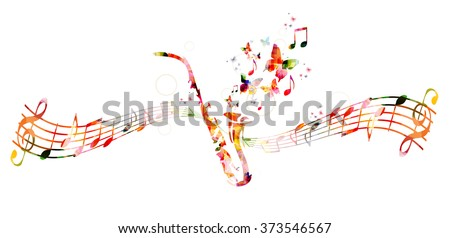 Colorful saxophone design with butterflies - stock vector