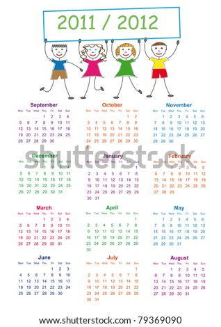 Colorful school calendar on new year school from 2011 to 2012 year - stock vector