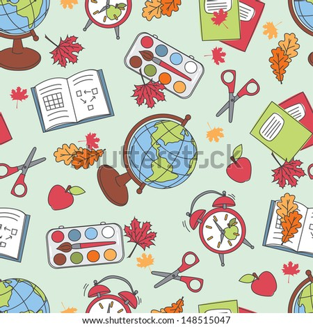 Colorful  school  pattern. Seamless pattern with school supplies. Vector - stock vector