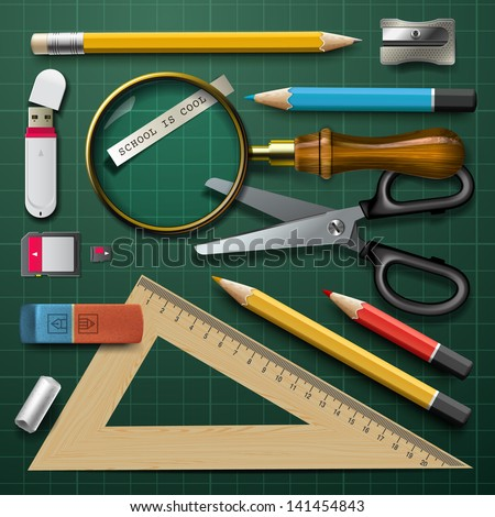 Colorful school supplies, vector illustration. - stock vector