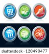 Colorful scientific icons set over white and black background - stock vector