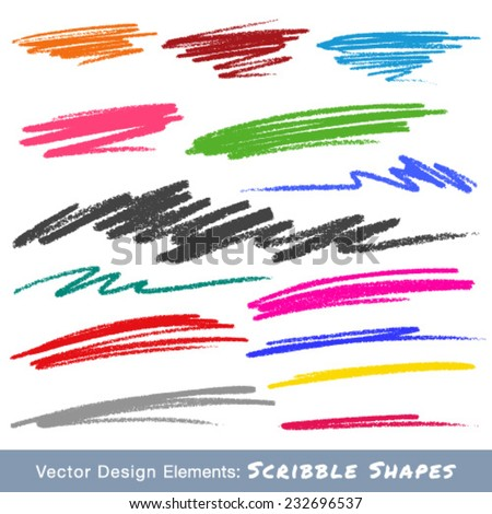 Colorful Scribble Smears Hand Drawn in Pencil, vector logo design element  - stock vector