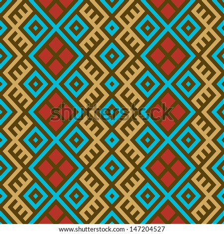 Colorful seamless ethnic pattern background in magenta blue, red, brown and gold colors. Vector file editable, scalable and easy color change. Can use it for packaging, textile design and scrapbooking - stock vector