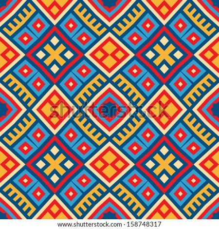 Colorful seamless ethnic pattern background in red,  blue, red, yellow colors. Vector file editable, scalable and easy color change. Can use it for packaging, textile design and scrapbooking  - stock vector