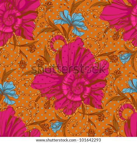 Colorful seamless floral texture - stock vector