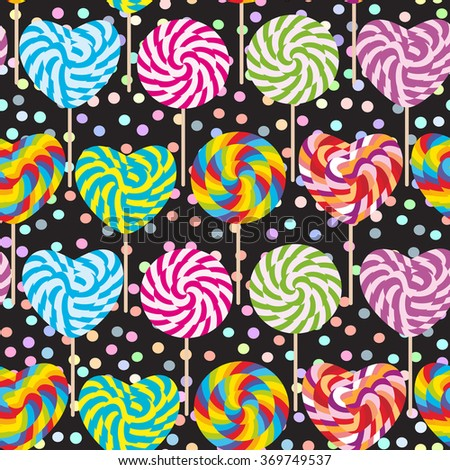 colorful seamless pattern, candy lollipops, spiral candy cane. Candy on stick with twisted design pastel colors polka dot black background. Vector - stock vector