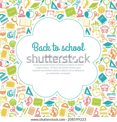colorful seamless pattern school subjects - stock vector