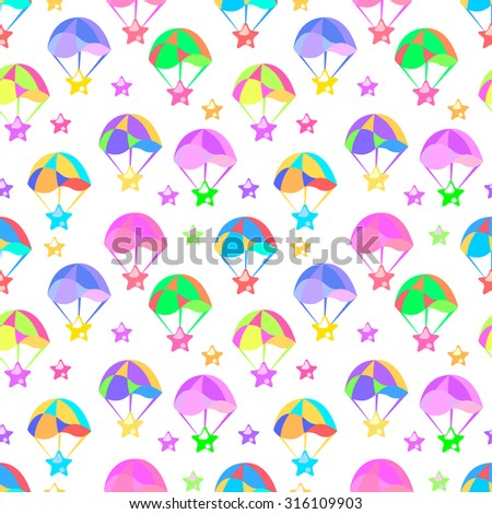 Colorful seamless pattern with a parachute. - stock vector