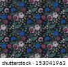 Colorful seamless pattern with a vintage flower bouquets carnations and chrysanthemums - stock vector