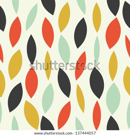 colorful seamless pattern with abstract leaves - stock vector