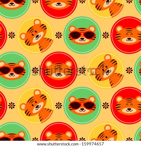 Colorful seamless pattern with cute baby tigers - stock vector