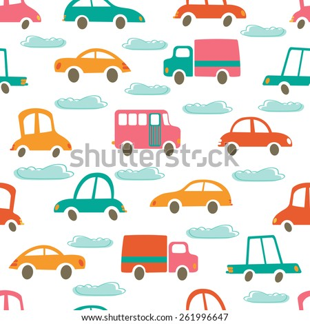 Colorful seamless pattern with cute cars and clouds. Vector illustration - stock vector