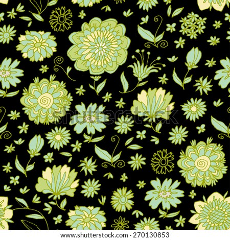 Colorful seamless pattern with flowers in vector. Elegant hand drawn or wrapping paper, wallpaper, textile, curtains, upholstery, web site background, print. Endless texture. All objects are editable. - stock vector