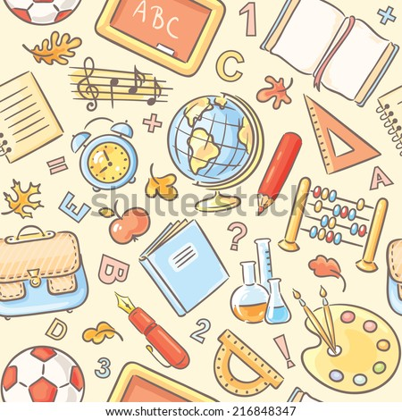 Colorful seamless pattern with school things - stock vector
