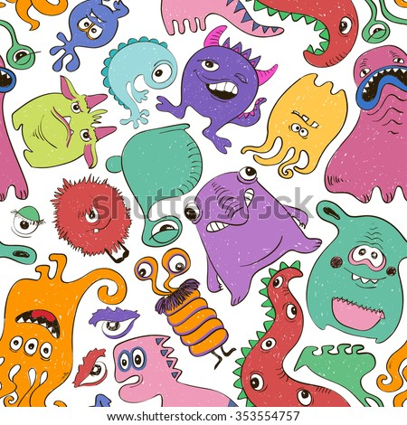 Colorful seamless pattern with sketch funny monsters. Abstract graphic background. - stock vector