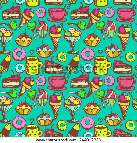 colorful seamless pattern with sweet snacks - stock vector