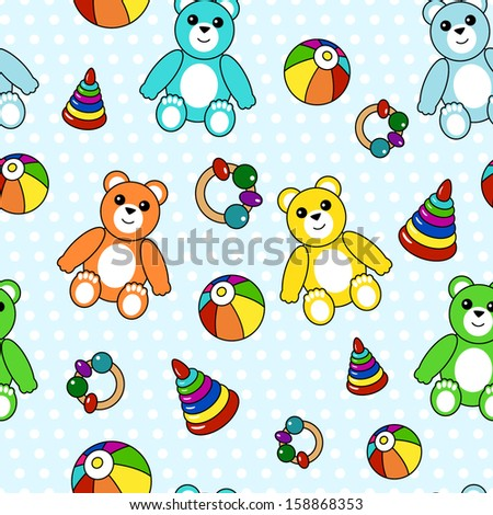Colorful seamless pattern with toys - stock vector