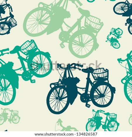 Colorful seamless pattern with vintage bicycle silhouettes. Vector illustration. - stock vector