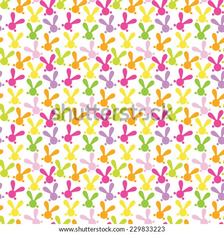 Colorful seamless patterns with easter bunny. Vector illustration for funny holiday design. Background for post or greeting card. Cute wallpaper with rabbits. Orange, green, yellow, pink, purple color - stock vector